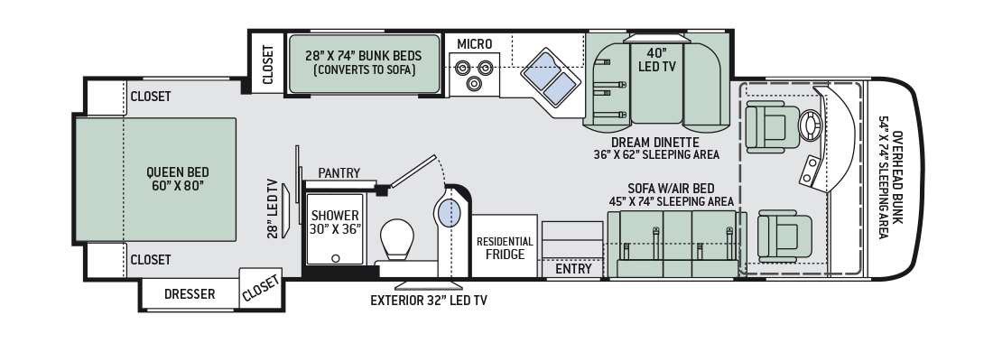 Motorhome Floor Plans With Bunk Beds