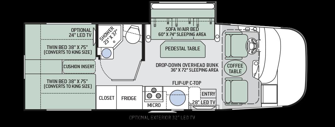 Thor Axis 24 1 Motorhome Floor Plan1 Signature Motorhomes